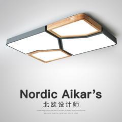 北欧风客厅灯简约现代长方形大气实木灯具马卡龙2019年新款吸顶灯