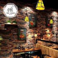 复古仿砖纹砖头砖块墙纸3d立体餐厅饭店服装酒吧理发店工业风壁纸