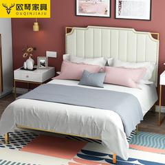 现代简约环保北欧ins网红床轻奢公主铁艺床金色双人床极简1.8米床