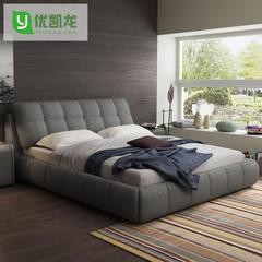 布艺床简约现代主卧双人床1.8米布床小户型可拆洗软包榻榻米床