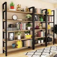 书架落地简约现代钢木置物架多层铁艺客厅书柜架子组合货架储物架