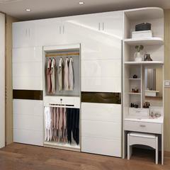 烤漆整体三门衣柜现代简约板式滑门大衣柜组装推拉门组合卧室衣橱